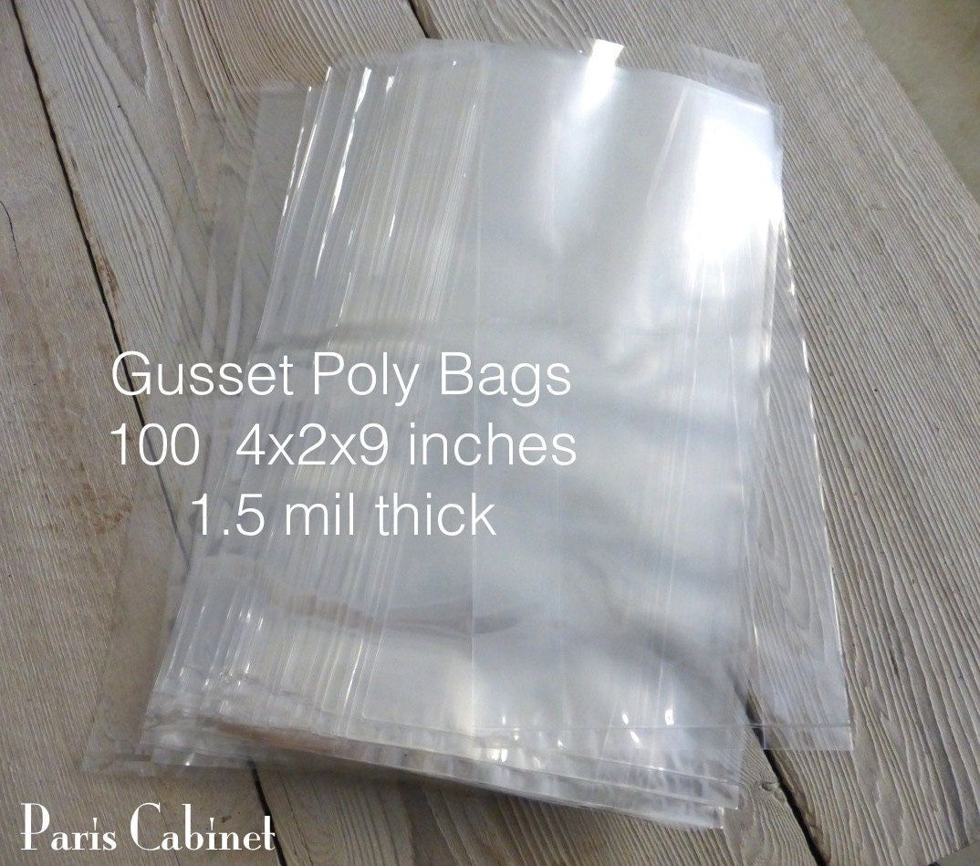 100 Gusseted Poly Bags 4x2x9 inches 1.5 mil thick Wedding Birthday ...