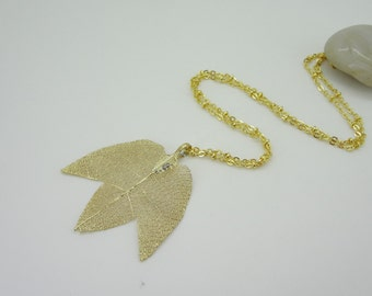 Golden personality long leaves specimens fashion necklace