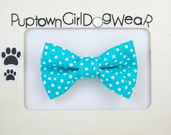 Dog Bow Tie Aquamarine Bow Tie Wedding Bow Tie Photo Prop Ocean Blue Bow Tie Polka Dot Bow Tie for Dogs
