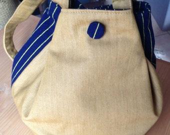 Purse - bag bucket of denim and wool