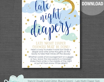 Stars and Clouds Late Night Diapers Blue Green and Gold Glitter Baby Shower Game Printable, Instant Download, Diaper Thoughts, Boy, Moon,24S