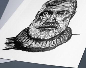 Ernest Hemingway Line Drawing Portrait Print
