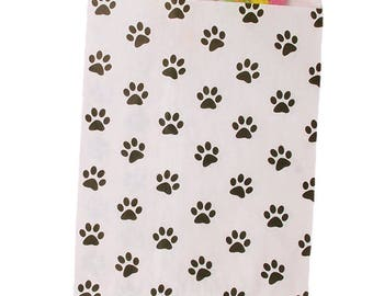 Paper Paw Print Merchandise Bags, Party Favor Bags, Candy Bags - Black/White - Cute Party Bags, Paper Bags, Animal Treat Bags