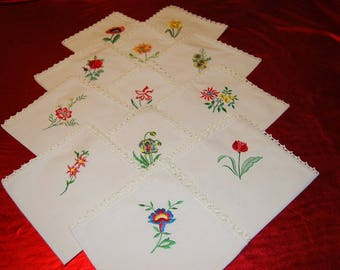 12 emboidered ecru cotton side 40cm approx