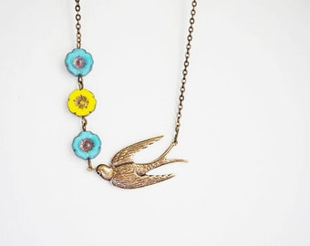 Bridesmaid Gift Bridesmaid Jewelry Statement Necklace Flower Necklace Yellow Necklace Turquoise Necklace Bird Necklace Vintage Necklace Gift