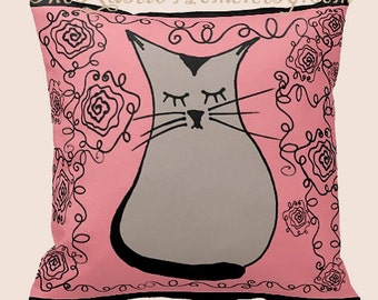 Ohm kitty cat square toss pillow pink and black rose garden roses