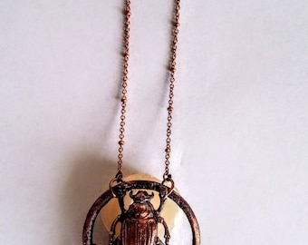 Mythological Egyptian Copper Scarab Atop a Large Citrine Point //Electroformed, Soldered Copper Chain Necklace