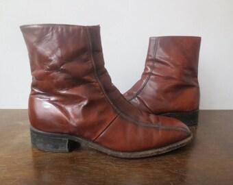 Vintage '60s Men's Rich Brown Leather Side Zip Ankle Boots / Beatle Boots, US Sz 10 / 10.5
