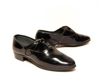 mens size 9 PIERRE CARDIN patent black leather 80's DRESS shoes