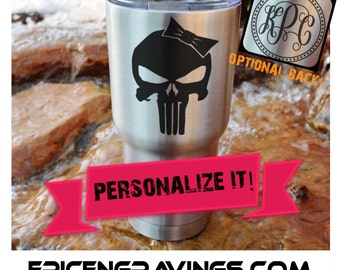 YETI or RTIC Engraved Tumbler/Girl Punisher Skull/The Punisher/Punisher Yeti/Punisher RTIC/Punisher Cup/Punisher Tumbler/Personalized Gift