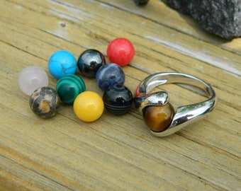 Interchangeable ring with 10 - 8mm semi precious stones
