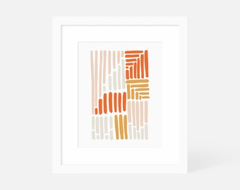 Modern Gallery Wall Art / Colorful Abstract Wall Art / Orange Art Print / Matted and Framed / 18x24 16x20 11x14 8x10 5x7