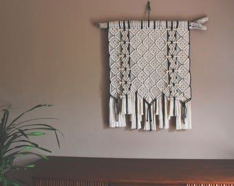FREE SHIPPING>>>>>100 % Cotton Large Macrame Wall Hanging on Driftwood - Ready to Ship