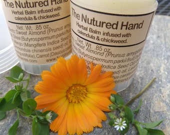 Calendula Chickweed Infused Herbal Hand and Body Balm made with Organic Ingredients - The Nurtured Hand