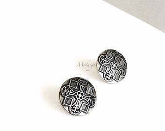 "Art Deco Inspired ""Florence"" Earrings in Silver Metal w/ Stainless Steel Posts. Will Arrive in Gift Box, Branded Tag, and a nice Ribbon."
