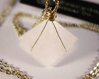 Gold Wrapped Rose Quartz Pyramid Necklace