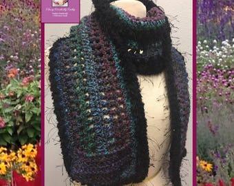 Crochet Wool Scarf, Knit Scarf, Crochet Shawl, Bohemian Scarf, Freeform Crochet, Boho Scarf, Fall Wool Scarf, Boho Chic Scarf, Wool Wrap