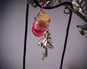 Pink, Fairy Dust Necklace, Pixie Dust Necklace, Magic Dust Necklace, Mini Cork Bottle, Fairy Dust, Pixie Dust, Wish Dust, Magic Dust