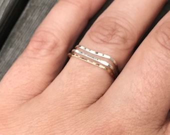 Silver Stacking Rings Sterling Silver Ring Dainty Ring Midi Ring Set Minimalist Ring Hammered Ring Ultra Thin Silver Ring Square Ring