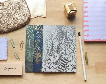 Metallic Leaf Notebook Set of 3