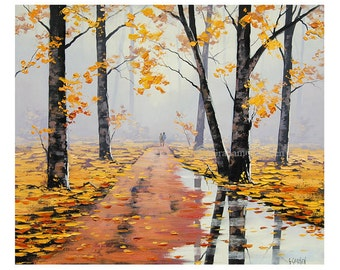 LARGE Oil PAINTING HUGE Trees painting Autumn Painting artwork Graham gercken