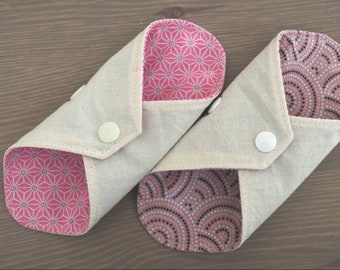 Set of 2 protects washable slip in pink and beige OEKO-TEX certified cotton