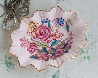 Pink Ring Dish with Flowers - Trinket Dish - Soap Dish - Kitsch Boho Home Decor