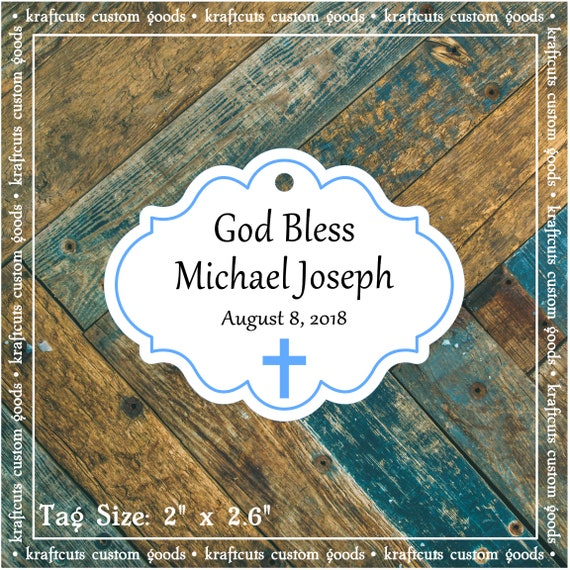 Personalized Baptism, Christening or First Communion God Bless Religious Favor Tags - Baby Boy Blue Border #780 FREE SHIPPING!