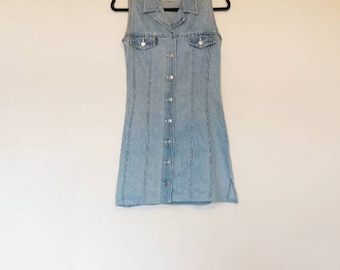 Denim Button Down Dress Vintage Mini Dress Blue Denim Button Through Dress Women's Vintage Denim Mini-Dress Ladies Small Vintage Dress Blue
