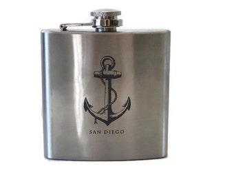 San Diego Flask / Keep Calm Encinitas Flask / Gift for Him
