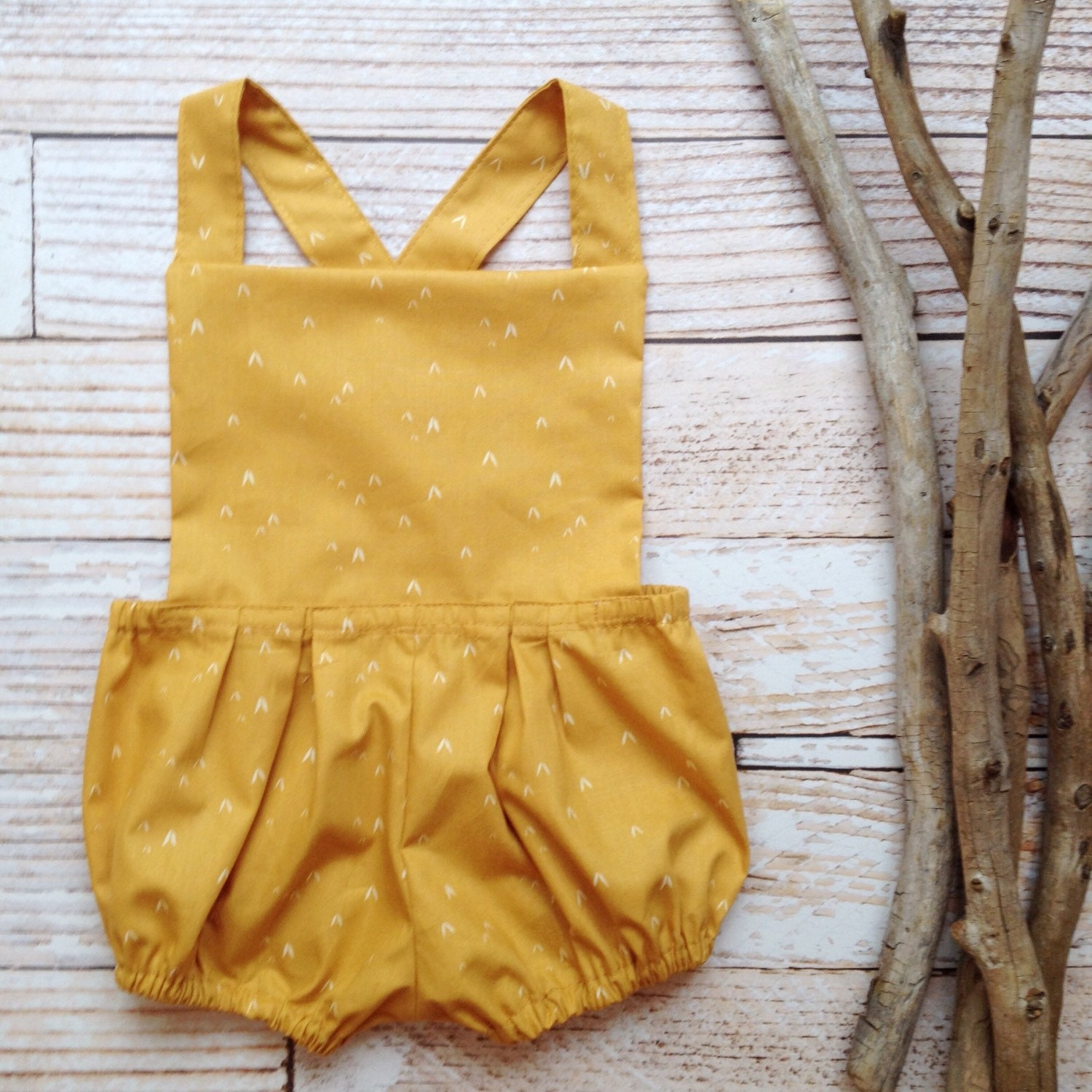 Boho baby clothes romper baby clothes girls mustard yellow