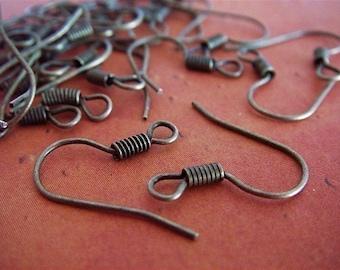 100 - Antique Bronze - Earring Hooks  (ABEH)