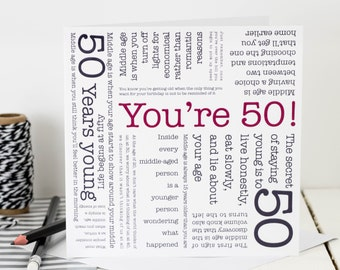 50th Birthday Card; You're 50!; Card For 50th Birthday; Personalised 50th Card; 50th Card; GC072