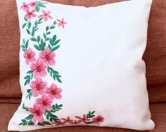 Floral Design Cushion Cover, Illustrated Cushion Cover, Dekorative Cushion Cover
