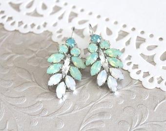 Mint green earrings, Bridal earrings, White opal earrings, Bridal jewelry, Chandelier earrings, Green opal earrings, Statement earrings