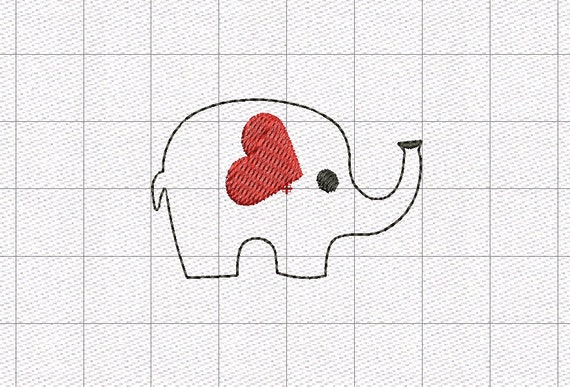 Elephant heart ear feltie mini embroidery design in 5 inch 1 ccuart Images