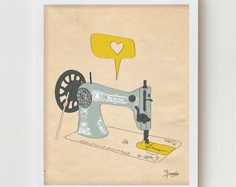 Sewing Art Print, Vintage Illustration Wall Decor, Sewing Machine Illustration Poster, Singer Sewing Machine Wall Art Decor Print