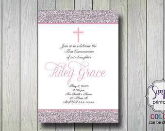 Girls Communion Invitation or Baptism Invitation