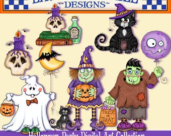 Halloween Clip Art, Halloween digital art, Halloween printables, Laurie Furnell, papercrafts, scrapbooking, Halloween papercrafts, pumpkins