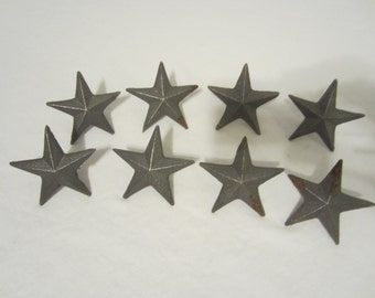 8 Raw Cast Iron Nail Stars 2 3/4 Wide For Wall Hanging Decor