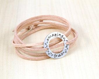 Amazing Grace - Wrap Bracelet - Inspirational Bracelet - Faith Bracelet - Religious Jewelry - Personalized Bracelet - Boho Jewelry