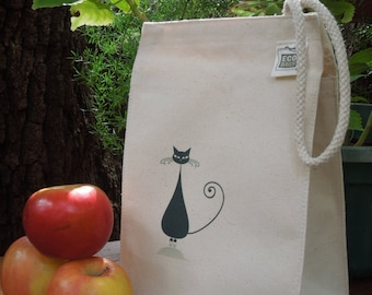 Recycled cotton lunch bag - Canvas lunch bag - Cat