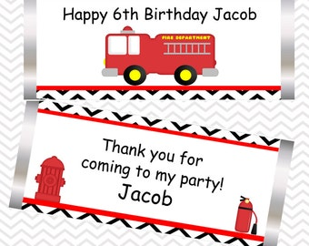 Fire Truck - Personalized Candy Bar Wrapper, Birthday, Baby Shower