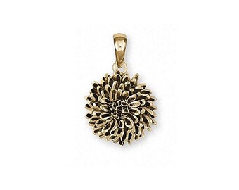 Chrysanthemum Pendant Jewelry 14k Gold Handmade Flower Pendant CRY2X-PG