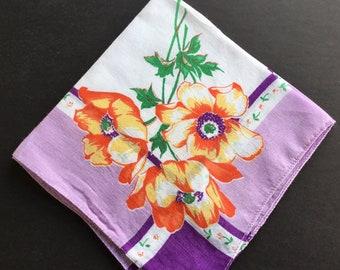 Vintage Handkerchief. Red, orange & purple poppies, dark and light purple border
