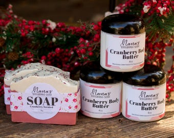 Handmade Cranberry Scented Soap, Cranberry Body Butter Soap Gift Set, Cranberry Easter Basket Gift Set, Easter Basket Gift