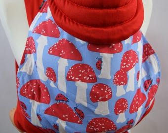 MEI TAI Baby Carrier / Sling / Reversible / Mushrom with Red / in straight cut model
