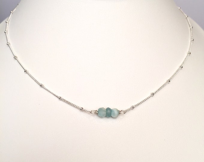 Delicate bead chain with natural Blue Peruvian Opals