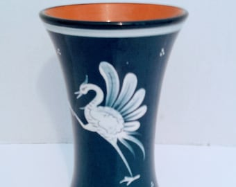 Hand Painted Wild Bird Vase, Bulle Dubuis Bosshard Collectible