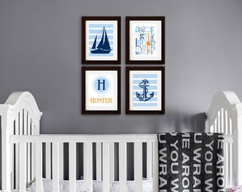 Nautical Print set, Ship print, Sailing theme, Sail boat, Alphabet print, Custom name, nautical nursery, Under the Sea, Item  097